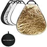 """FOTOCREAT 32""""(80cm) 5 in 1 Triangle Collapsible Light Reflector With Handle(golden/silver) for Photography Photo Studio (32inch)"""