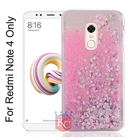 detailed look ce1fb db5c6 KC Liquid Unique Floating Hearts & Glitter Sparkle Transparent Case, Soft  Sides for Xiaomi Mi Redmi Note 4 Back Cover - Pink Colour