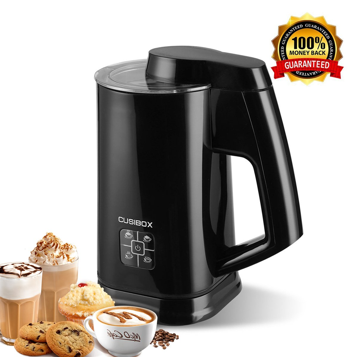 Automatic Electric Milk Frother,CUSIBOX Stainless Steel Electric Milk Steamer,Hot or Cold Milk with New Foam Density Feature Heater and Cappuccino Maker