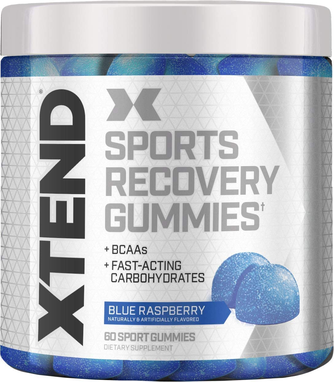 XTEND Sports Recovery Gummies with 3.5g Branched Chain Amino Acids, BCAAs Fast-Acting Carbohydrates, Blue Raspberry, 60 Gummies