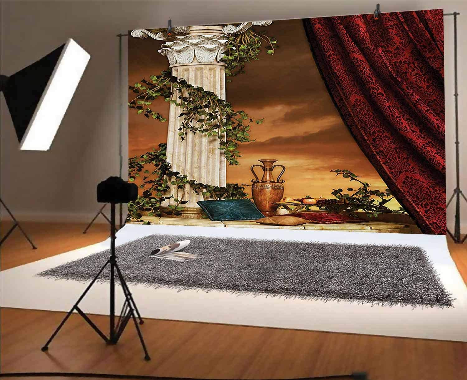 Gothic 12x10 FT Vinyl Photo Backdrops,Greek Style Scene Climber Pillow Fruits Vine and Red Curtain Ancient Figure Sunset Background for Child Baby Shower Photo Studio Prop Photobooth Photoshoot