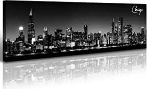 Chicago Skyline Canvas Wall Art Black and White City Landscape USA Night Scene Pictures Living Room Office Decor Artwork 14