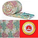 Divine Casa Luxor Floral Microfibre Single Comforter - Green and Beige (110 GSM)