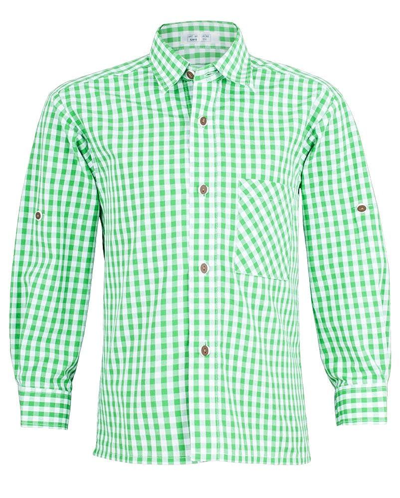 Isar-Trachten Kinder Trachtenhemd Moritz - Grün - Schönes Trachten Hemd für Kinder - Perfekt zur Lederhose für Buben