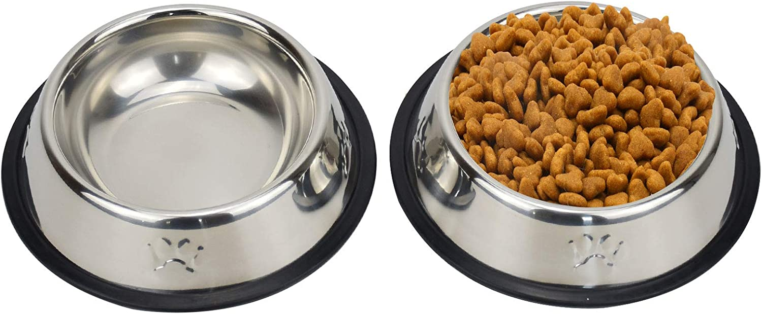 Sonyaer Stainless Steel Cat Bowls, Food and Water Cat Dishes Non Slip Stackable Pet Bowl for Cat, Kitten, Puppy, Small Dog (2 Pack - Cat Paw)