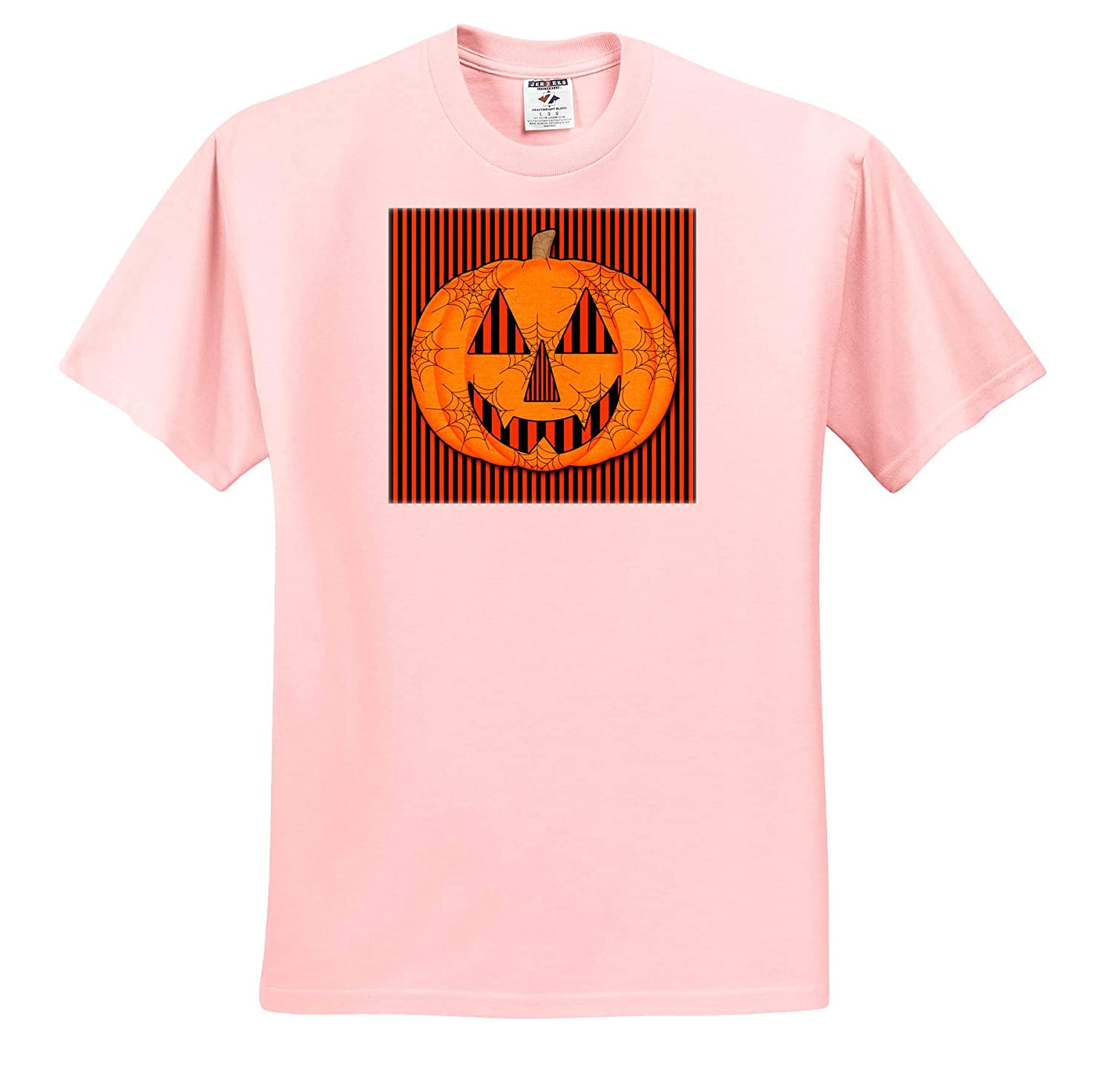 T-Shirts 3dRose Doreen Erhardt Halloween Collection Orange and Black Striped Traditional Carved Pumpkin with Cobwebs
