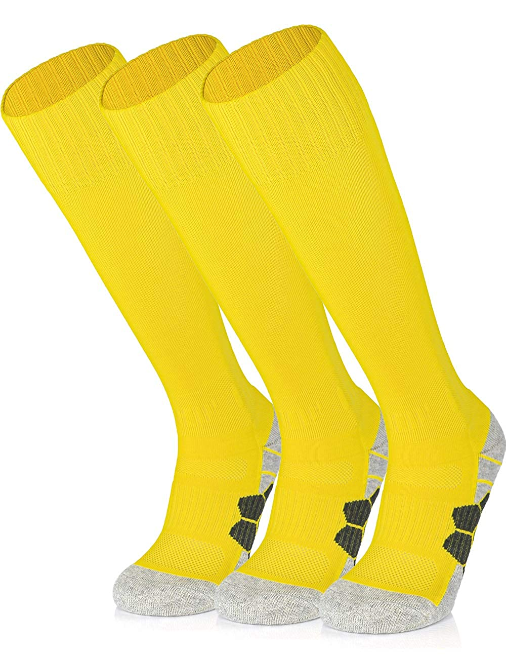 APTESOL Youth Soccer Socks for Kids Adult Knee High Team Sport Boys Girls Combed Cotton Bottom Tube Socks