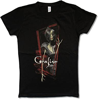 Amazon Com Juniors Coraline Other Mother Red Frame Black T Shirt Medium Clothing