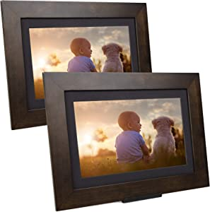 """SimplySmart Home PhotoShare Friends and Family Smart Frame Digital Photo Frame, Send Pics from Phone to Frame, WiFi, 8 GB, Holds Over 5,000 Photos, HD, 1080P, iOS, Android (8"""" (2-Pack), Espresso)"""