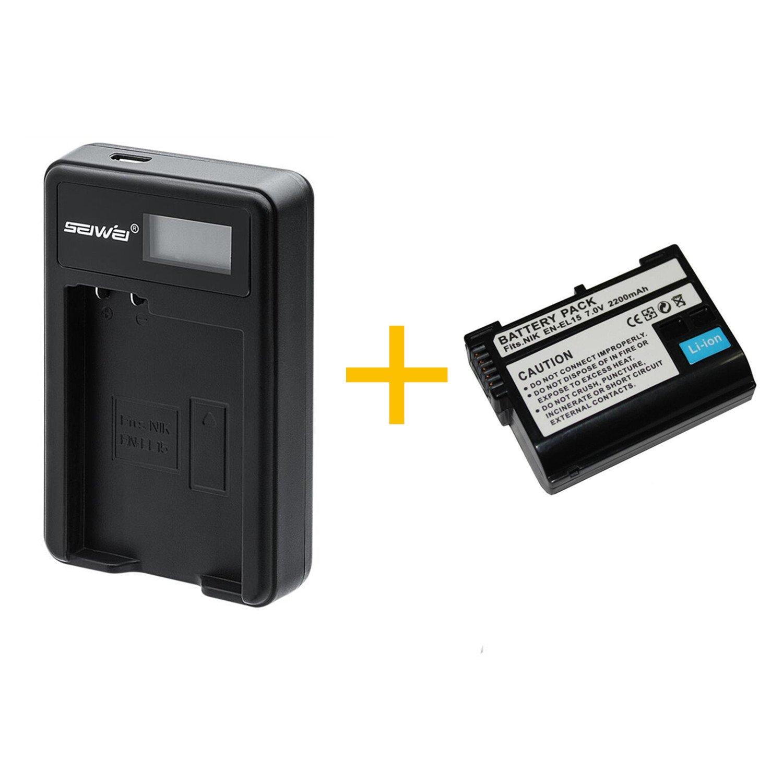 2 Pieza 2200 mAh EN-EL15 ENEL15 Batería con Cargador de batería ...
