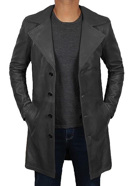 Amazon.com: Abrigo de piel para hombre, 100% piel auténtica ...