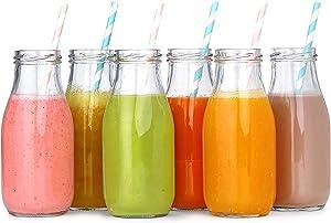 12 Pack - 11 Oz Glass Milk Bottles, 24 Metal Twist Lids and 12 Colorful Paper Straws - Reusable Vintage Dairy Bottles- Milk Bottles for Parties, Weddings, BBQ, Picnics.