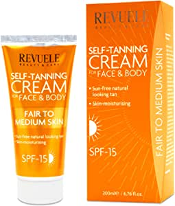 (Fair To Medium Skin) - Revuele Self-Tanning Cream SPF 15 Protection For Face And Body 200ml (Fair To Medium Skin)