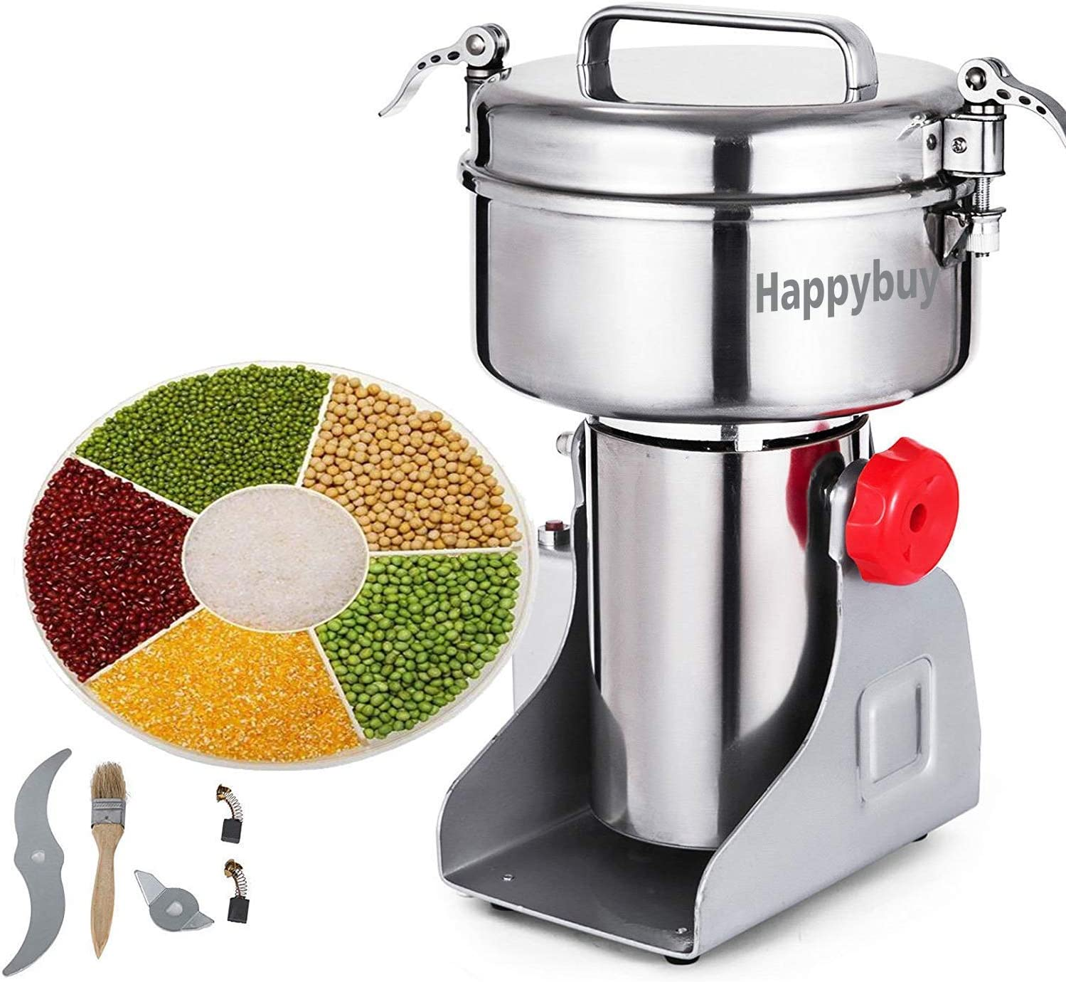 Happybuy Electric Grain Grinder 2000g Pulverizer Grinding Machine 4000W Mill Grinder Powder Machine 50-300 Mesh Stainless Steel Swing Type Grain Grinder Mill for Kitchen Herb Spice Pepper Coffee