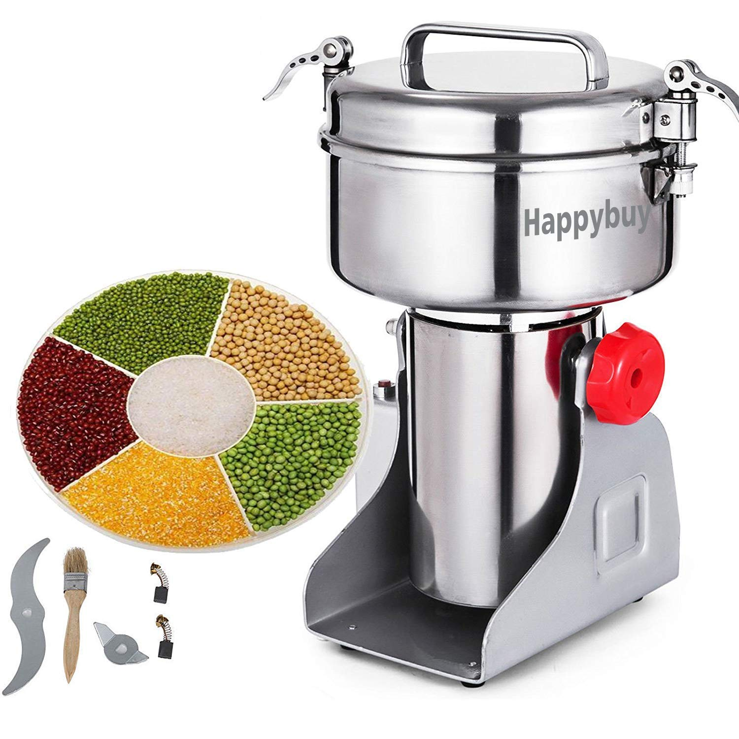 Happybuy Electric Grain Grinder 2000g Pulverizer Grinding Machine 4000W Mill Grinder Powder Machine 50-300 Mesh Stainless Steel Swing Type Grain Grinder Mill for Kitchen Herb Spice Pepper Coffee by Happybuy