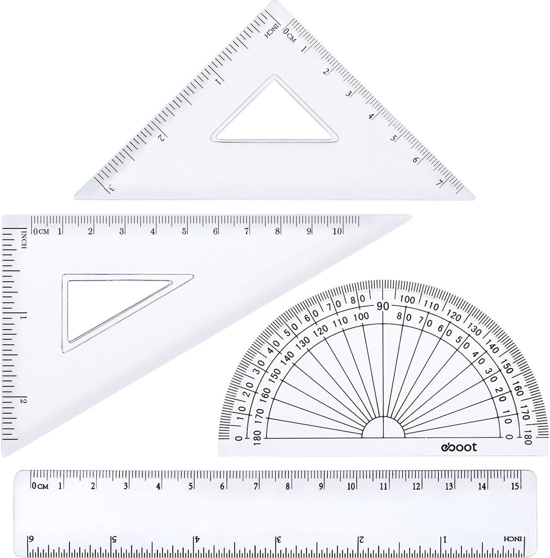 Triangle de R/ègle eBoot /Équerre Pi/èces Rapporteur R/ègles Plastiques