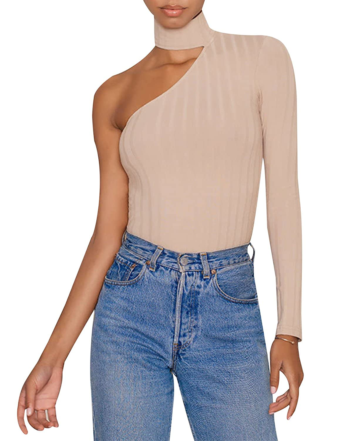 HaoDuoYi Womens One Shoulder Cut Out High Neck Knit Top Pullover Sweater
