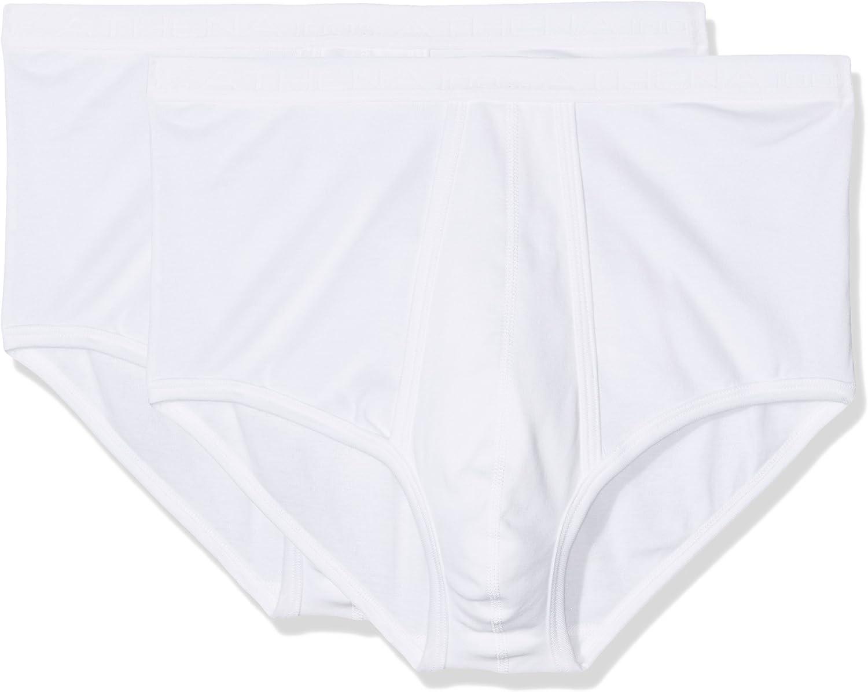 Athena Lot de 2 Slips Ouverts Taille Haute 100/% Coton Bio Gris chin/é