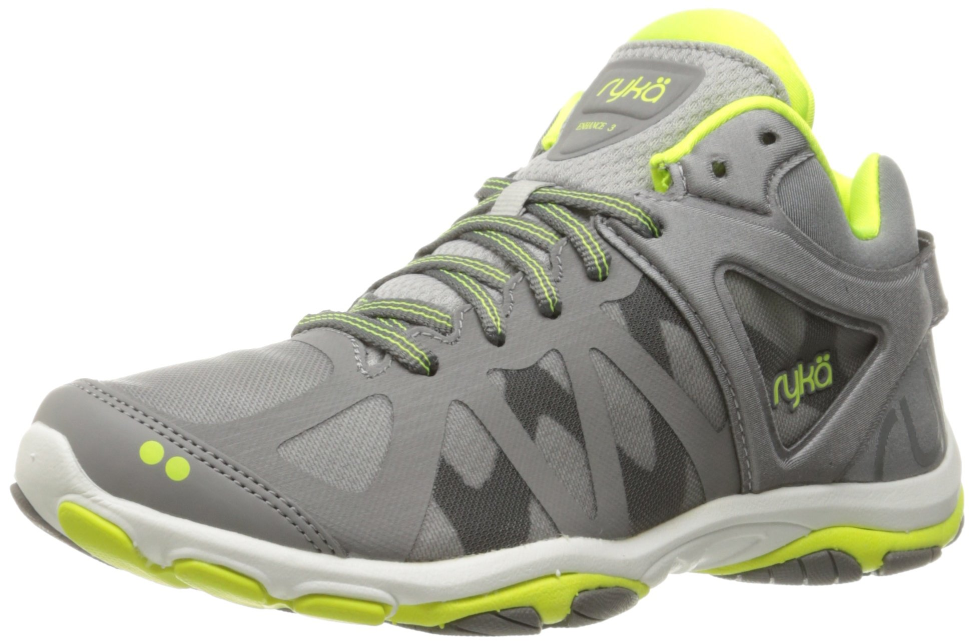 Ryka Women's Enhance 3 Cross-Trainer Shoe, Grey/Lime, 8.5 M US