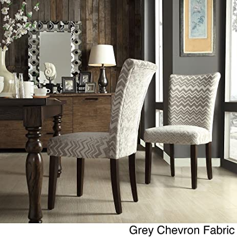 Beautiful Catherine Print Parsons Dining Side Chair Grey Chevron Fabric (Set Of 2)
