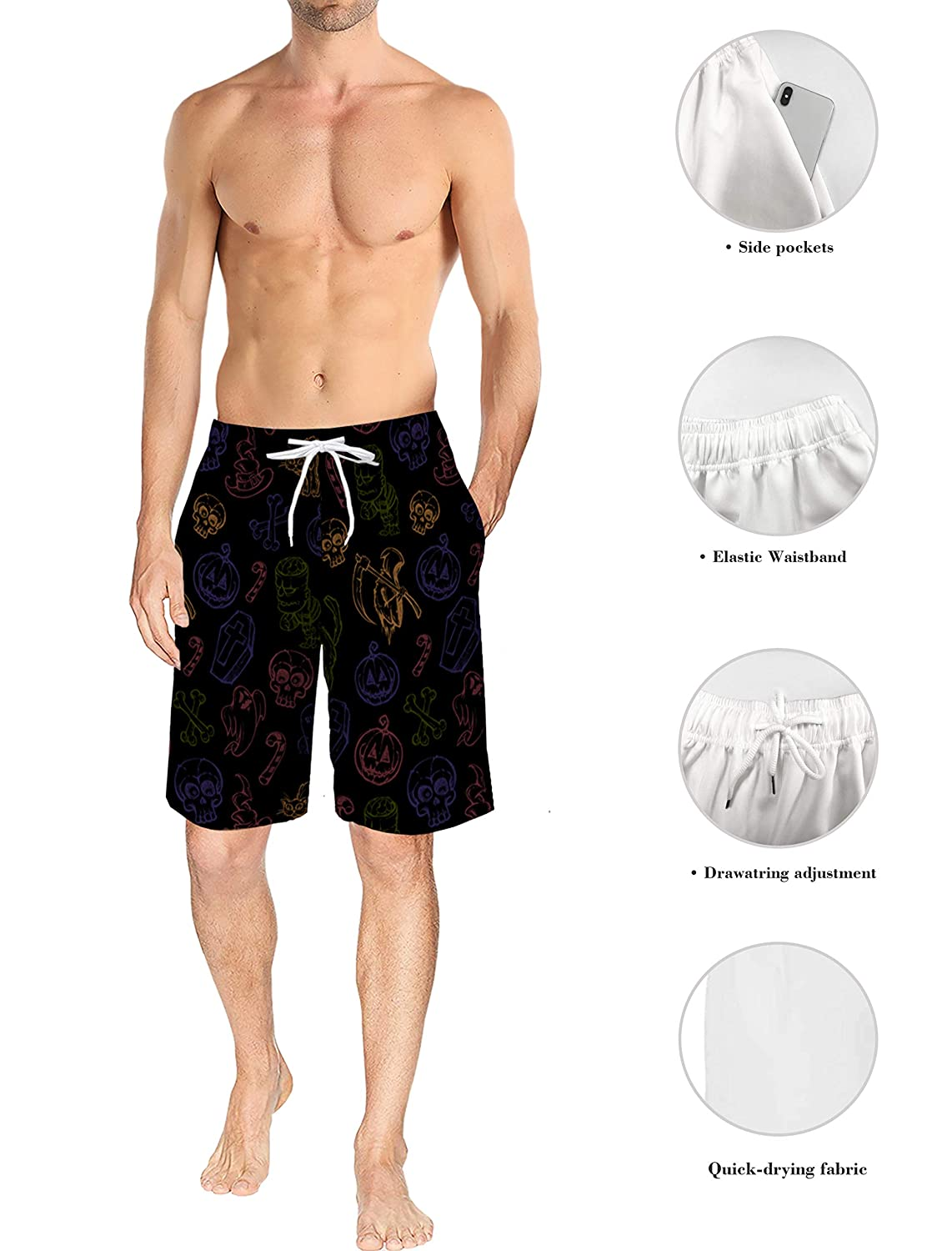 Mens Lightweight Slim Fit Quick Dry Beach Shorts Halloween Style Big Full Moon and Ghost Surf Beach Pants with Mesh Lining