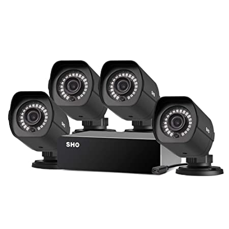 SHO Full HD 1080p 8 Channel Repeater Outdoor sPoE Security Camera System 4 X 2MP IP Wired Security Camera, Remote Monitoring,Free 6-Month Cloud Service for Recording Activation Code FISH2C04
