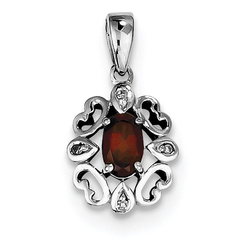 925 Sterling Silver Rhodium-plated Polished Diamond /& Garnet Oval Pendant