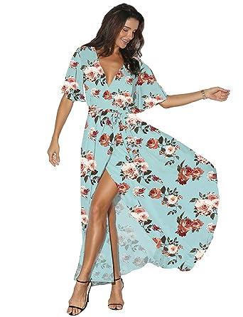 312f456bc Azalosie Women Wrap Maxi Dress Floral Short Sleeve Flowy Slit Tie Waist  Summer Beach Party Wedding at Amazon Women's Clothing store: