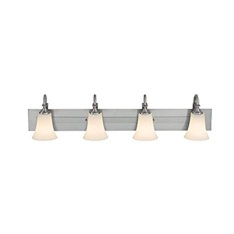 Brushed Steel 4-Light Feiss VS12703-ORB Barrington Glass Wall Vanity Bath Lighting, Bronze, 3-Light (24 W x 9 H) 300watts