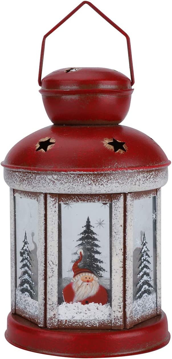 Christmas Candle Lantern Decoration Metal Vintage Style Hanging Lanterns Table Candleholders Lantern Holder Home Decor, Hexagonal Red House