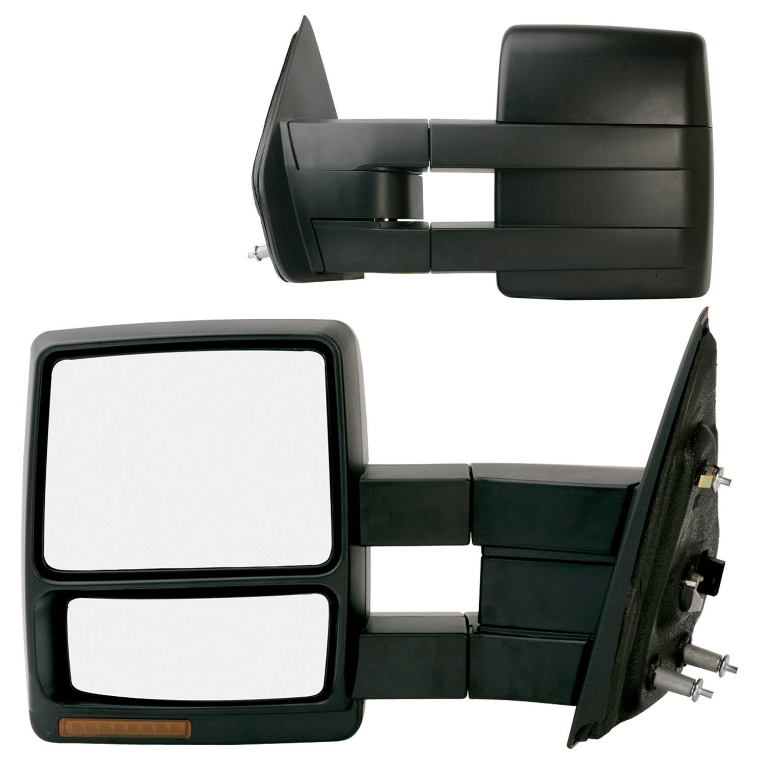Amazon Com Fit System  F Ford F  Driver Passenger Side Heated Power Extendable Towing Mirror With Turn Signal And Puddle Lamp Pair Automotive