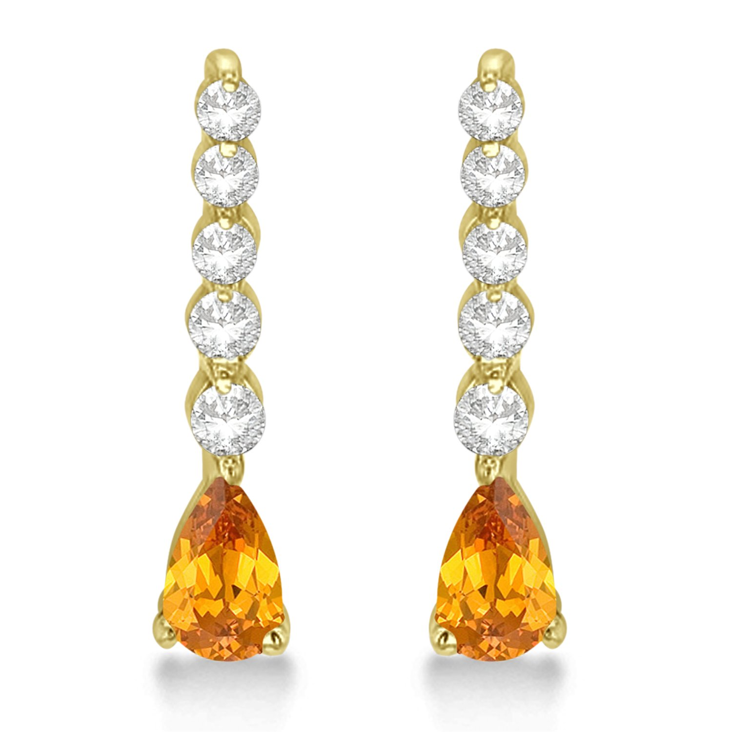 Amazon Women s Pear Citrine and Diamond Graduated Drop Earrings