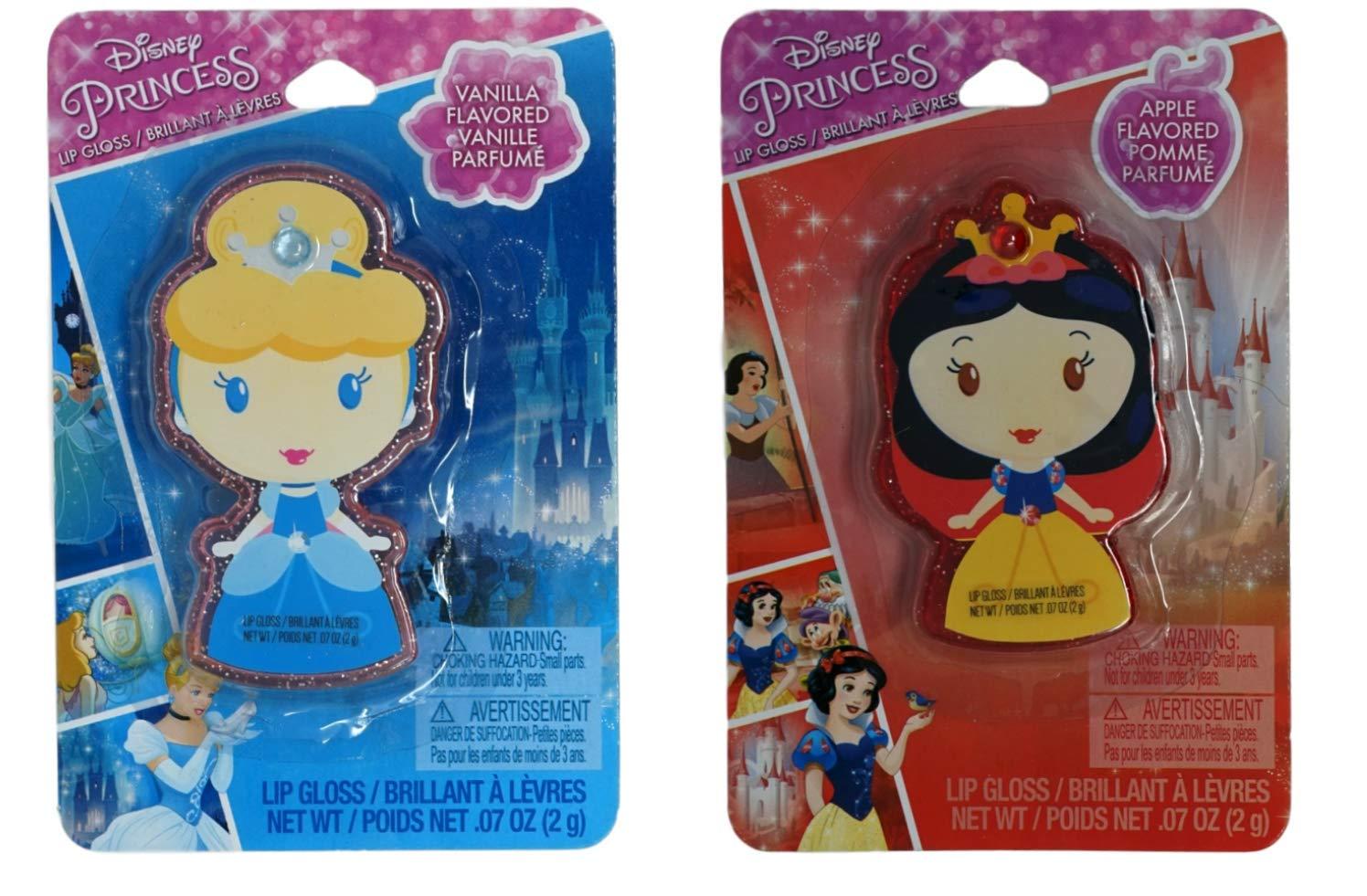 Disney Princess Flavored Lip Gloss Set, 1 Snow White and 1 Cinderella