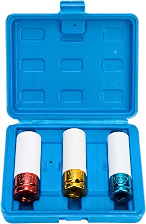 1//2 Juegos de vasos para llaves Llaves de Vasos Ruedas Juego de 3 piezas Juego de Casquillos para Llave de Impacto 17 mm 19 mm 21 mm