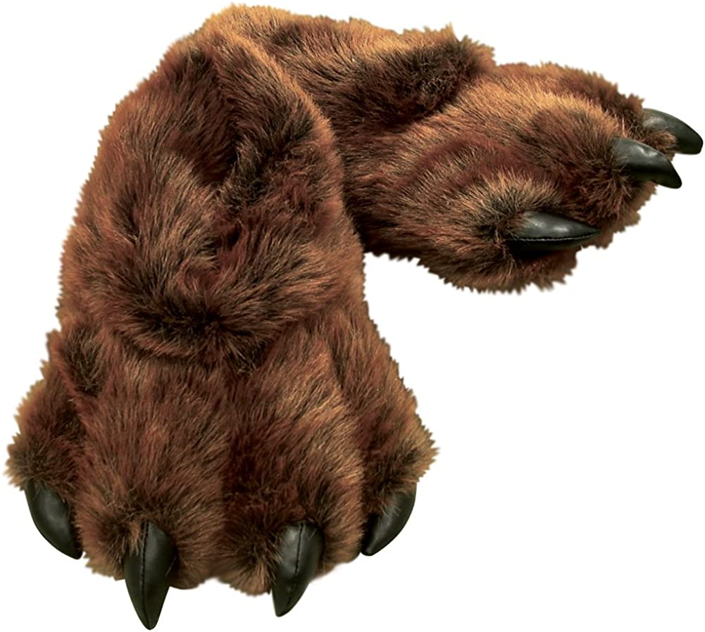 Grizzly Bear Paw Furry Slippers - Men