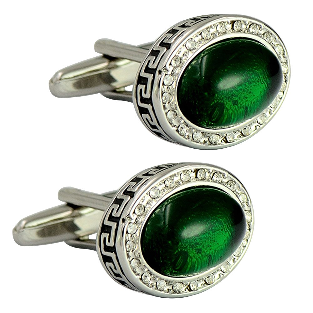 Oval Emerald Auspicious pattern bullet cufflinks rhinestone elegant cufflinks retro classy cufflinks