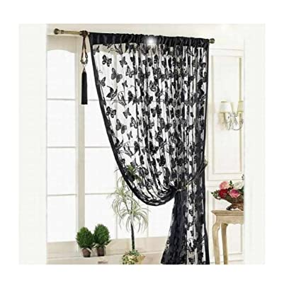Image Unavailable Not Available For Color Butterfly Lace Shower Curtain 100x200cm Buedvo Door Black