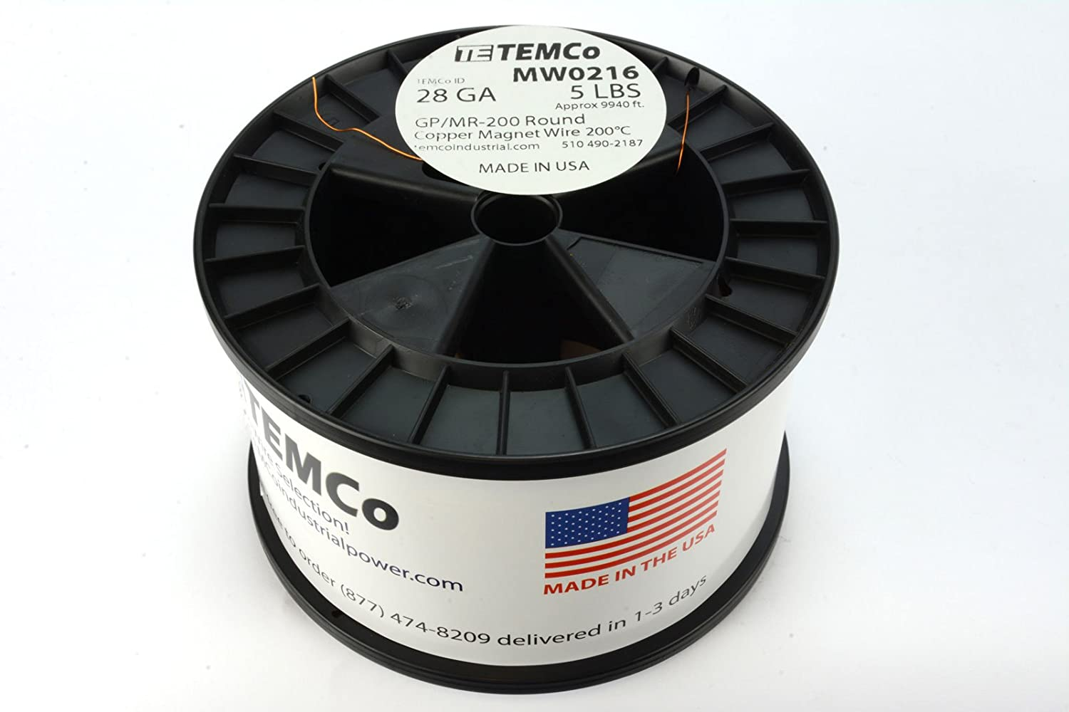 TEMCo 28 AWG Copper Magnet Wire 5 lb 9940 ft 200/°C Magnetic Coil Winding