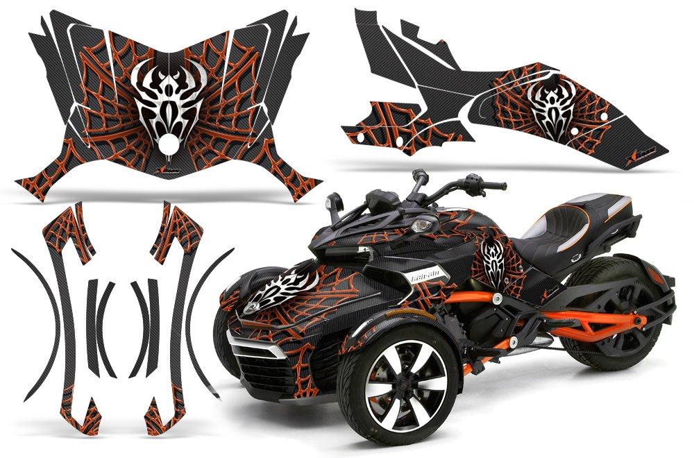 AMR Racing Graphics Can - Am Spyder f3ロードスタービニールラップキット – Widow Makerオレンジブラック   B01N21X0MH