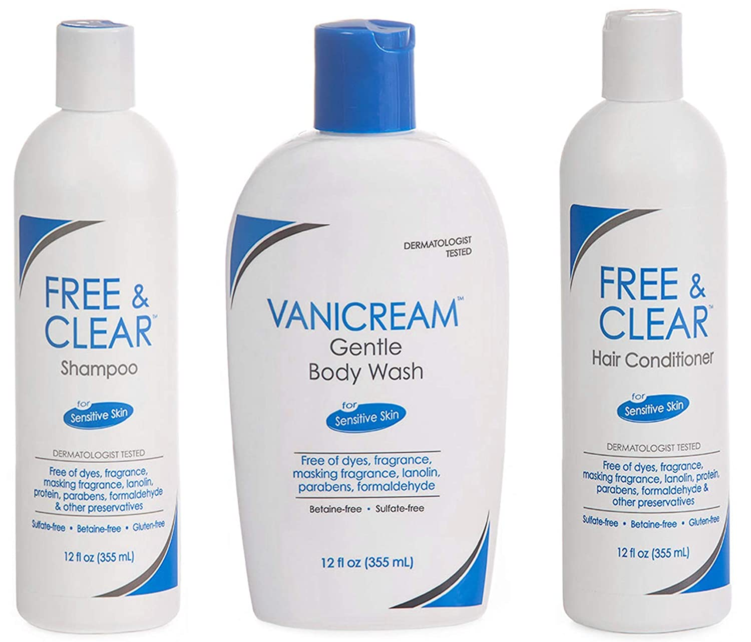 Vanicream, Free and Clear Shampoo, Conditioner and Body Wash Set, For Sensitive Skin, Fragrance and Paraben Free - 12 Ounce