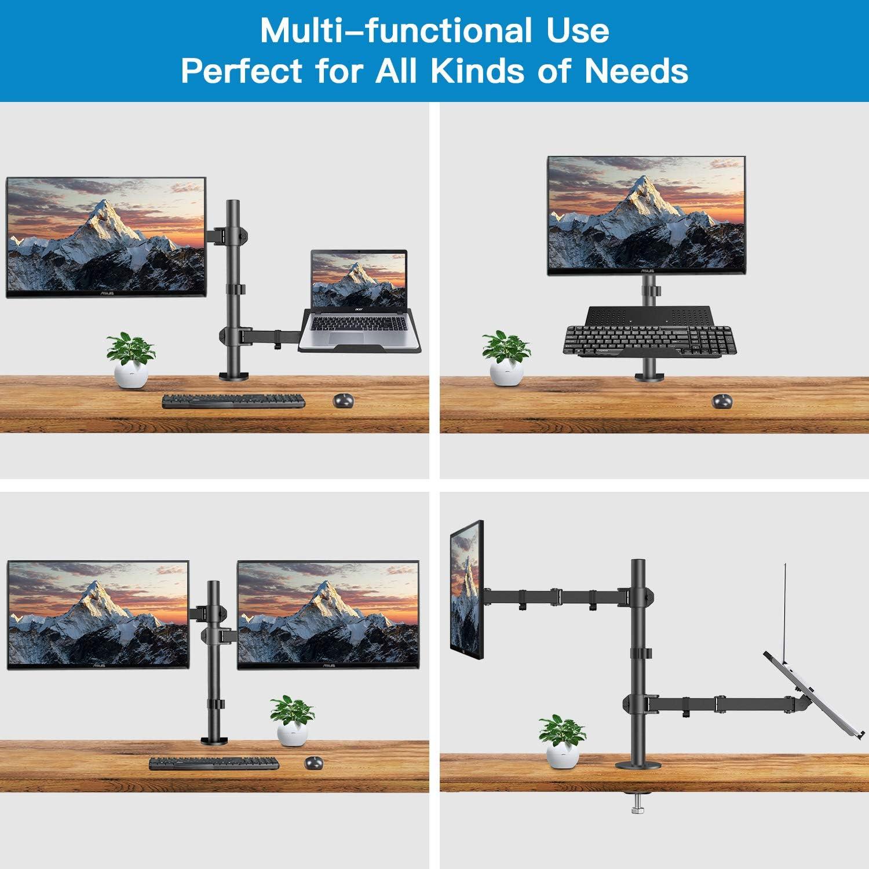 HUANUO Support Ecran PC avec Plateau pour Ordinateur Portable Conception Ergonomique Bureau Bras Support Moniteur PC de 13-27 Pouces & Ordinateur Portable jusqu'à 15,6 Pouces VESA 75x75-100x100mm