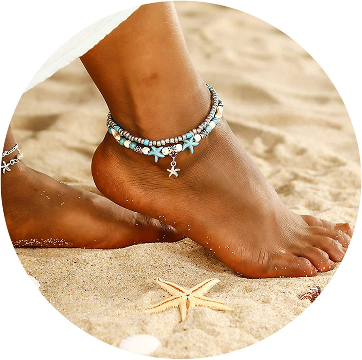 QIMOSHI 4 Style Anklets for Women Girls Beaded Turtle Elephant Charm Ankle Bracelets Multilayer Foot Jewelry Handmade