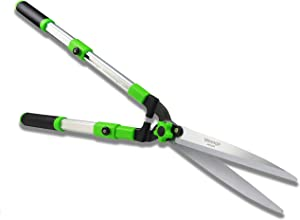 Mesoga Telescopic Hedge Shears Straight Blade, Extendable Pruning Shears, Long Handle Garden Clippers, Shock Absorbing Bumper Tree Trimmers Adjustable