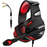 Gaming Headset with Mic for PS4 Xbox One Controller PC Nintendo Switch Tablet Smartphone, camouflage Stereo Over Ear Headphones Bass Surround Noise Canceling Microphone LED Light Soft Memory Earmuffs