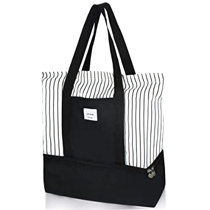 a6a30919123 Amazon.com: 2-in-1 Large Insulated Cooler lunch Tote Bag Ladies Trendy  Zippered Teacher Bag Utility Beach Tote Bag for Women: Baby