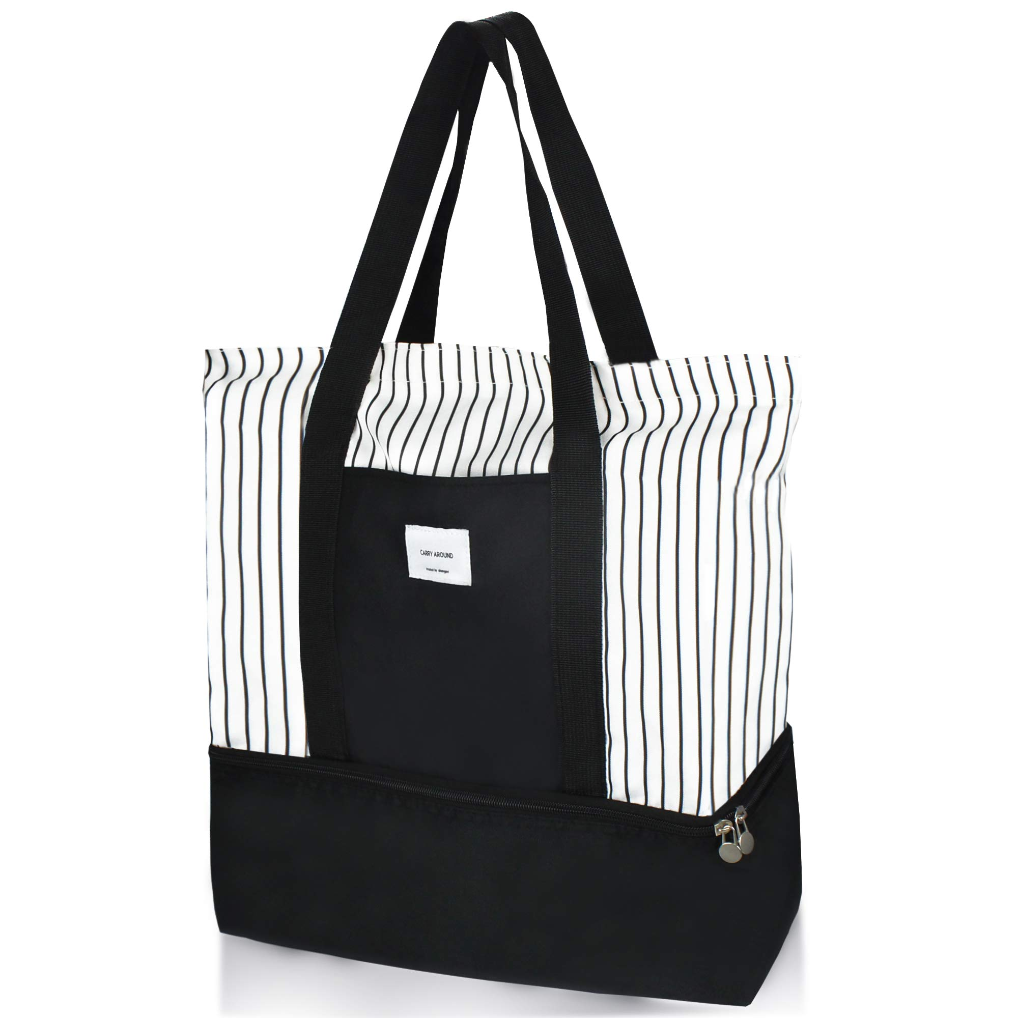 2-in-1 Large Insulated Cooler lunch Tote Bag Ladies Trendy Zippered Teacher Bag Utility Beach Tote Bag for Women