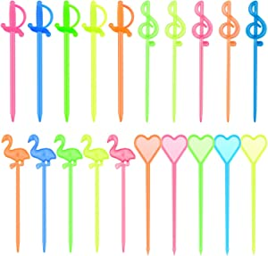 Hysagtek 200 Pcs Cocktail Picks Plastic Fruit Picks Appetizer Picks Drink Picks Flamingo/Heart/Music Note/Sword Shape Picks, Multicolor, 3 Inches