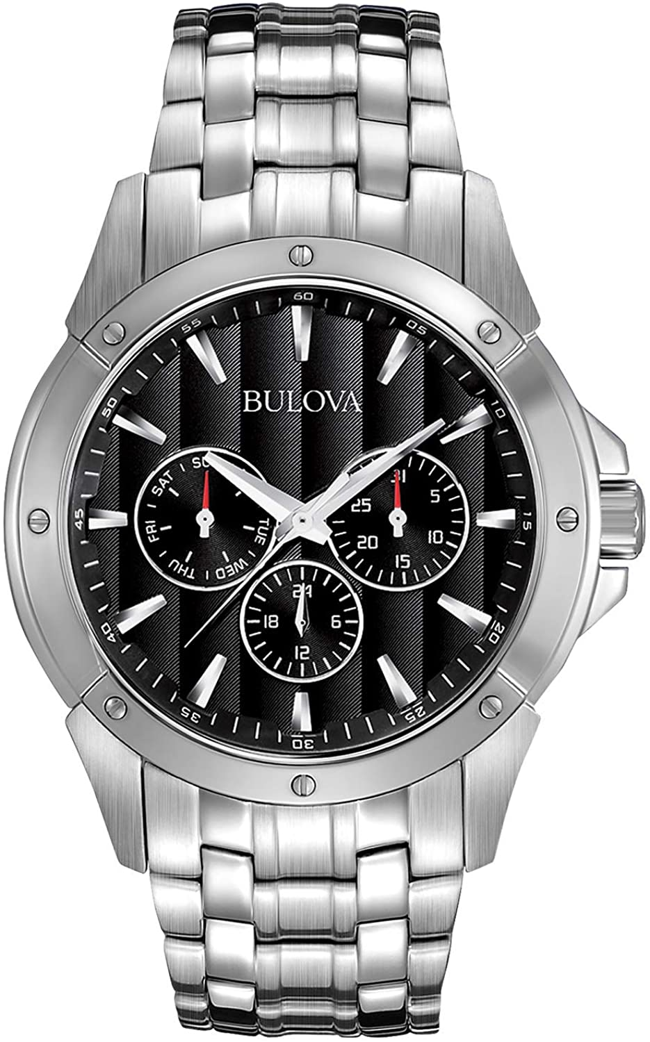 Bulova Men s 96C107 Black Dial Stainless Steel Watch