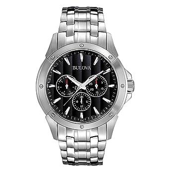 0ccb5bdef4b Amazon.com  Bulova Men s 96C107 Black Dial Stainless Steel Watch ...