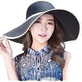 SiggiHat Ladies Summer Sun Hats Women Panama Straw Beach Hats Foldable Wide Brim Floppy Fedora - UPF 50 - Packable & Adjustable